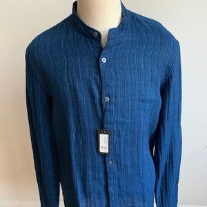 John Varvatos*USA BNWT shirt band collar blue